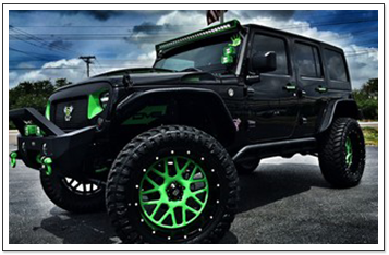 Jeep with Tinted Windows and Customization